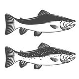 Set of trout icons. Design elements for fishing club or team. stock illustration