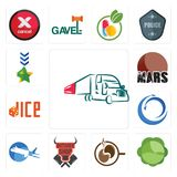 Set of truck company, cabbage, coffe, butcher shop, aeroplane, import export, dice, mars, military icons. Set Of 13 simple editable icons such as truck company Royalty Free Stock Photo