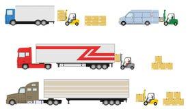 Set of truck with forklift loader. Stock Image