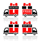 Set of truck red icons - free delivery Royalty Free Stock Images