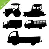 Truck and tractor silhouettes vector. Set of truck and tractor silhouettes vector vector illustration