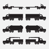 Set of truck trailer black icons. Stock Images