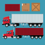 Set truck trailer container delivery transport cardboard box Royalty Free Stock Images