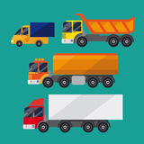 Set of trucks. It consists of a small truck, truck and tank. Background green. Achieved flat Stock Images