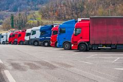 Set trucks in the park. Set of trucks in the park stock photo