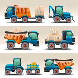Set of trucks and tractors for transportation Stock Photo