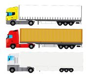 Set of trucks with trailers. Set of European style trucks with copy space for your text on trailers royalty free illustration