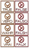 Set of True or false icons in different languages Royalty Free Stock Image