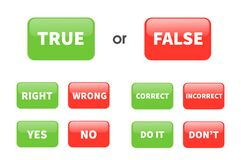 Free Set True Or False Sign Button Isolated On White Background. Stock Photos - 179995293