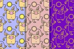 Set trzy bezszwowego wzoru z śmiesznymi świniami, symbol 2019 na chińczyka kalendarzu Żółte Earthy świnie z kolorem żółtym ilustracji