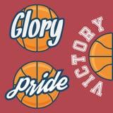 Set Trzy drużyn koszykarskich logo z piłką Zdjęcia Royalty Free