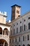 Set trzy dziejowego budynku w centrum Padua lokalizował w Veneto (Włochy) Obrazy Stock