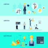 Set Trzy elektryczność sztandaru ilustracja wektor
