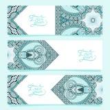 Set trzy horyzontalnego sztandaru z dekoracyjnym Obrazy Royalty Free