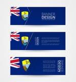 Set trzy horyzontalnego sztandaru z flagą Świątobliwy Helena Sieć sztandaru projekta szablon w kolorze Świątobliwa Helena flaga ilustracji