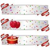 Set trzy horyzontalnego sztandaru z wakacje czerwonymi piłkami i czerwonym prezenta pudełkiem ilustracji