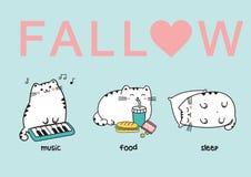 Set trzy kawaii ślicznego grubego białego kota w różnych pozach Wektorowa anime japońskiego stylu ilustracja ilustracji