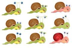 Set trzy ślimaczka Obrazy Stock