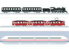 Różni linia kolejowa pociągi Zdjęcia Royalty Free