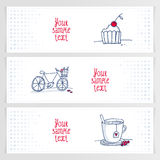 Set trzy romantycznego doodle sztandaru Obraz Royalty Free
