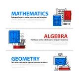 Set trzy sieć sztandaru o edukaci i szkoły wyższa tematach w płaskiej ilustraci projektuje Mathematics, algebra i geometria, Zdjęcie Stock