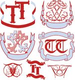 Set of TT monograms and emblem templates Stock Images