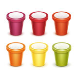 Set of Tub Bucket Container For Dessert Yogurt Ice Cream Royalty Free Stock Photos