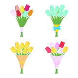 Set of tulip flowers bouquets isolated on white background. Flower arrangement. Royalty Free Stock Images
