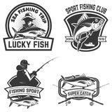 Set of the tuna fishing labels. Design elements for logo, emblem Royalty Free Stock Images