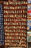 Set of turkish Ottoman leather slipper in bazaar Royalty Free Stock Photos