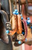 Set of turkish Ottoman leather slipper in bazaar Stock Images