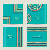 Set of turquoise cards with ethnic design Stock Photo