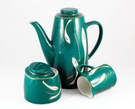 Set of turquoise jug, cup and sugar bowl Stock Images