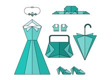 Set of turquoise origami fashion lady accessories Stock Photos