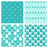 Set of turquoise vector water drops seamless patterns Stock Photo