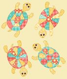 Set of turtles. Childrens application. Set of turtles. Patchwork series Royalty Free Stock Photography