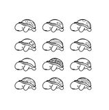 Set of turtles with cute shell. Set of 12 turtles with cute shell Royalty Free Stock Images