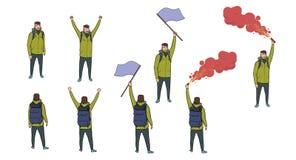 Set turysta postacie z błękitną flaga, czerwonym racą i plecakiem na białym tle, Wycieczkowicz wysyła out SOS royalty ilustracja