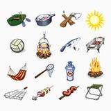 Set turystyka i campingowe ikony Obrazy Stock
