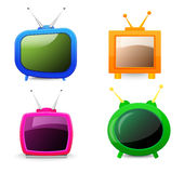 Set of TV. Set of four different TV isolated Stock Photos