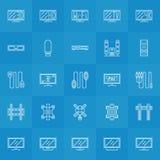 Set TV ikony Obrazy Stock
