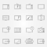 Set of TV repair service vector icons Stock Images