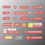 Set TV wiadomości bary ilustracja wektor