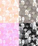 Set twarze kobiety, dziewczyn grafika zaświecają bezszwowy wektorowy illust Fotografia Royalty Free