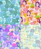 Set twarze kobiety, dziewczyny błękitna bezszwowa wektorowa ilustracja Zdjęcie Royalty Free