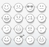 Set twarze z różnorodnymi emocj wyrażeniami. Zdjęcia Stock