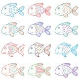 Set of amusing cartoon fishes. Set of twelve amusing cartoon fishes with various decorative design elements, vector illustration Royalty Free Stock Photography