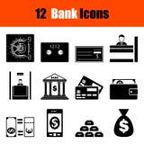 Set of twelve bank icons Royalty Free Stock Photos