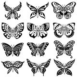 Set of twelve black butterflies Royalty Free Stock Image