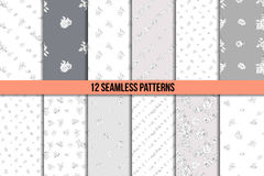 Set of twelve black and white floral patterns Stock Photography